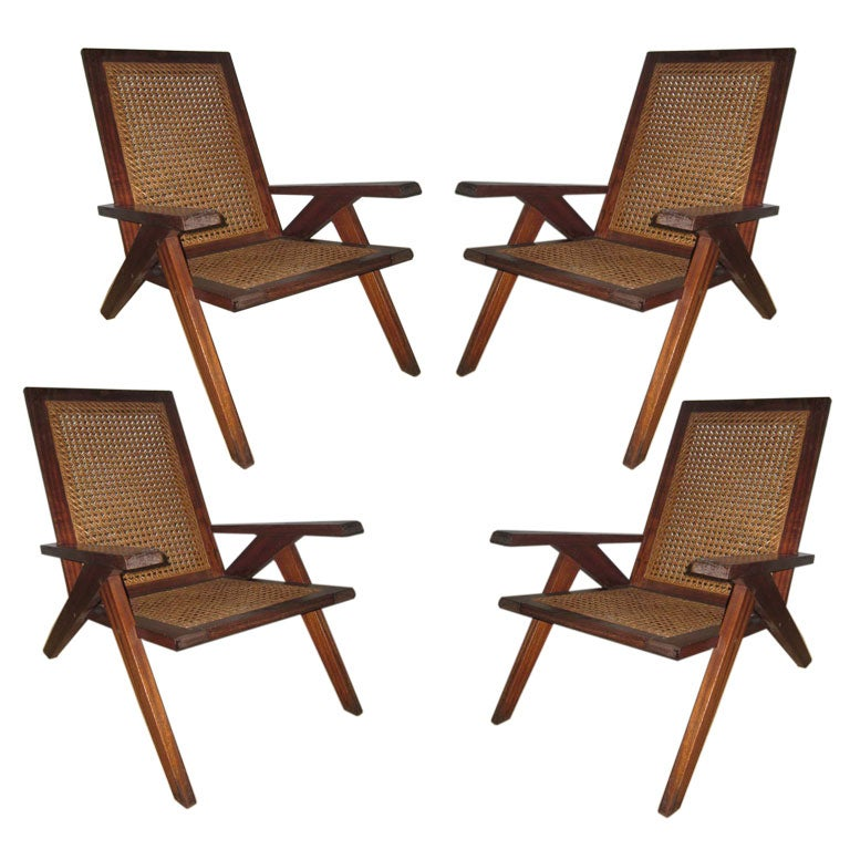 Pair of Caned Armchairs attributed to Pierre Jeanneret 1