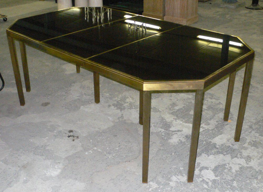 Brass Maison Jansen Octagonal Dining Table with Extension For Sale