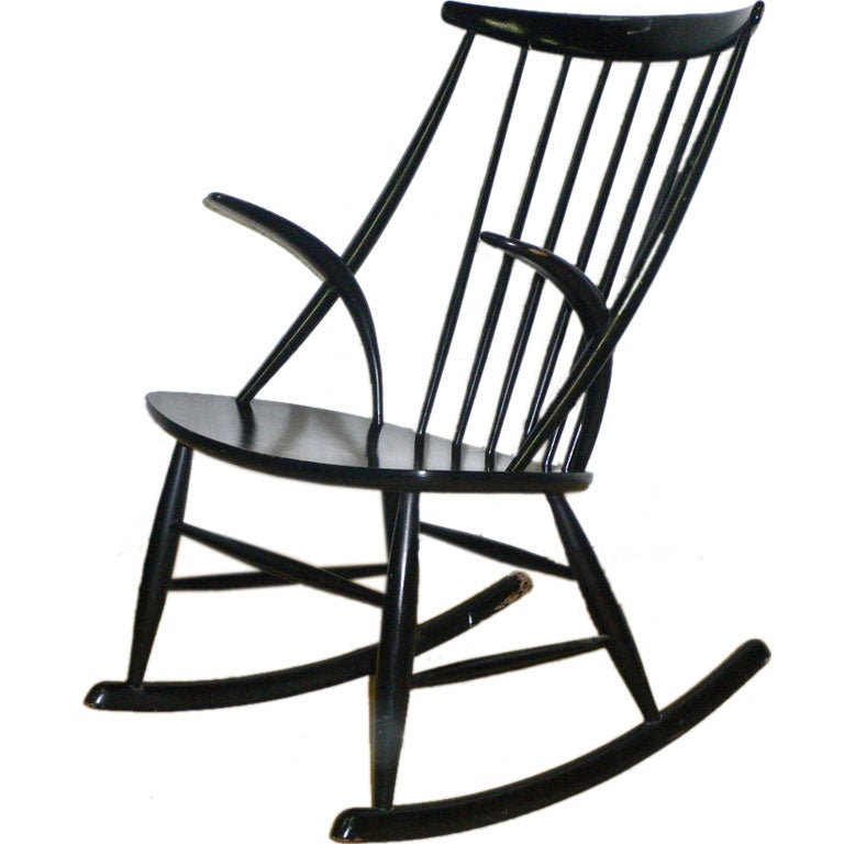 black lacquered rocking chair for sale at 1stdibs. Black Bedroom Furniture Sets. Home Design Ideas