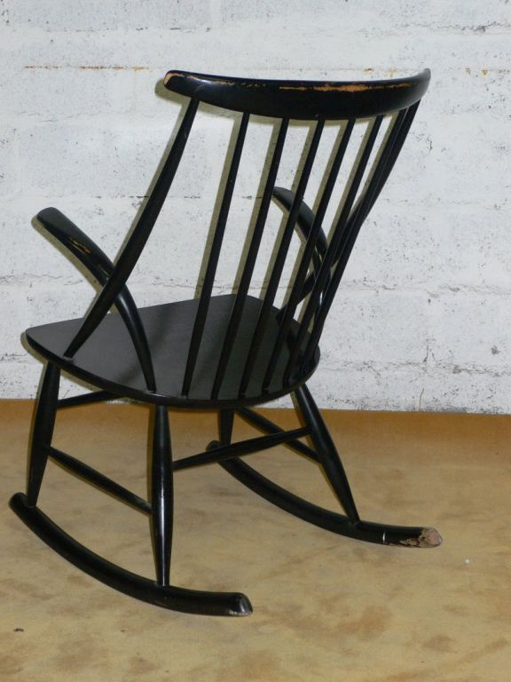 Danish black lacquered rocking chair For Sale