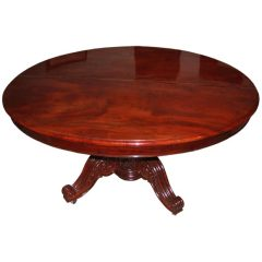 Large French 19th Century Solid Mahogany Oval Table