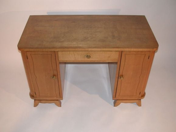 Mid-Century Modern French 1950s Sycamore Desk For Sale