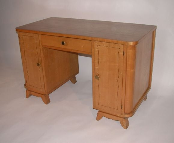 French 1950's Sycamore Desk with Ebonised Inlay.