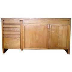 Fine French 1960s Solid Elm  Buffet / Dresser by Pierre Chapo