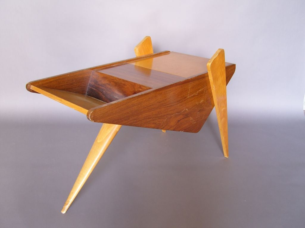 Unusual French 1950s Rosewood and Sycamore Side Table 3