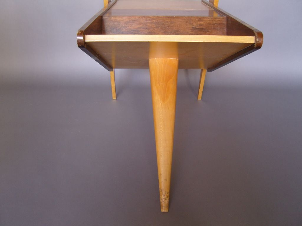 Unusual French 1950s Rosewood and Sycamore Side Table 4