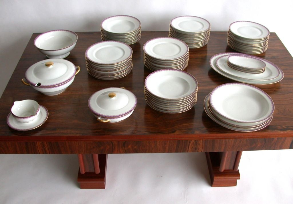 French Limoges 76 pieces dinner service by Ahrenfeldt for Joseph Soret.