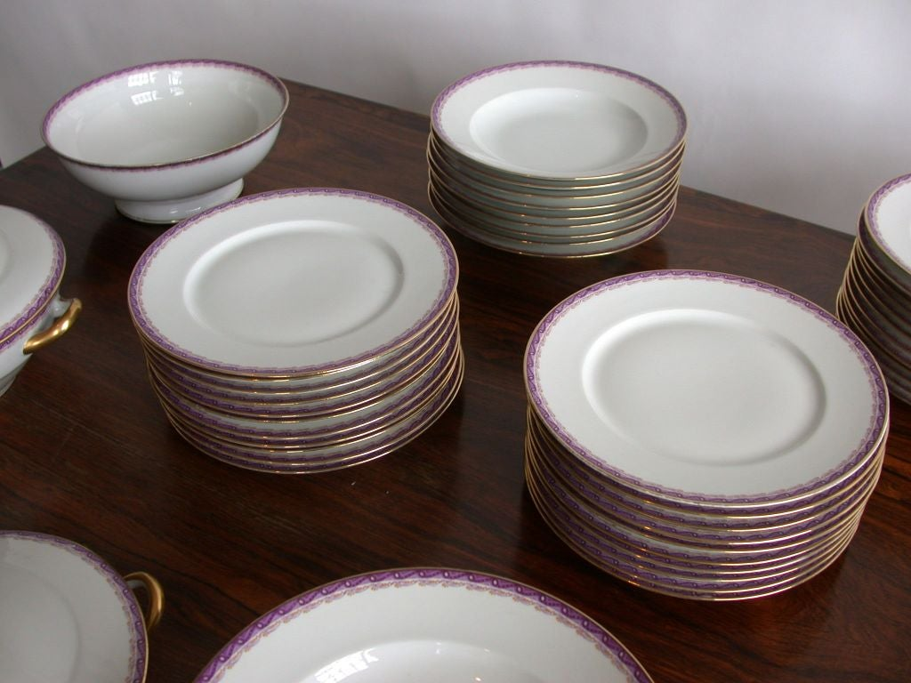 French Limoges Dinner Service by Ahrenfeldt In Good Condition For Sale In Long Island City, NY