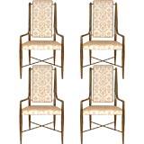 Set of Four Mastercraft Brass Chairs