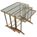 Faux Bamboo Brass Nesting Tables by Mastercraft