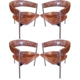 Set of Four Dieter Waeckerling Barrel Back Arm Chairs.