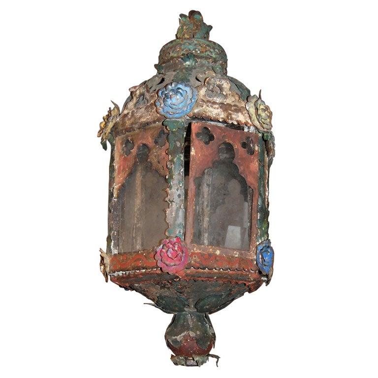 18th c. Italian Tole Lantern For Sale