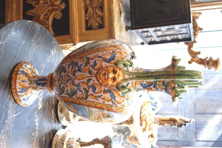 Ceramic 19th c. Italian Majolica Urn For Sale