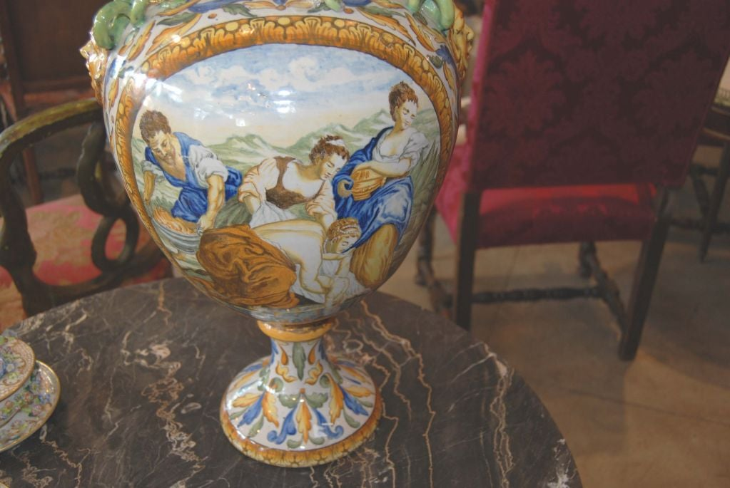 19th c. Italian Majolica Urn For Sale 1