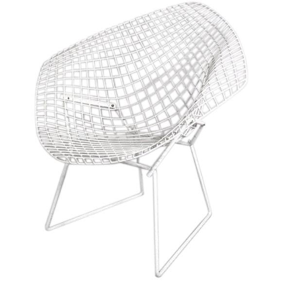 vintage white diamond chair by harry bertoia for knoll at 1stdibs. Black Bedroom Furniture Sets. Home Design Ideas
