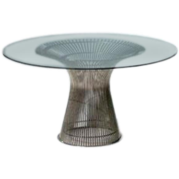 Beau Vintage Nickel Wire Dining Table By Warren Platner For Knoll For Sale
