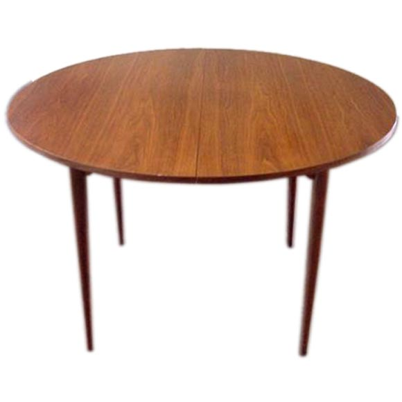 Marvelous Beautiful Round Teak Dining Table By Brown Saltman For Sale