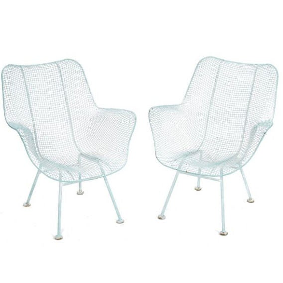 Set Of Russel Woodard White Metal Outdoor Chairs For Sale