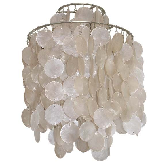 Verner Panton Mother Of Pearl Chandelier For Sale