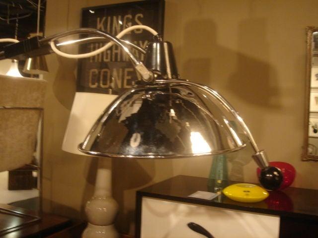 Vintage 1930s Doctor's Floor Lamp in Chrome & Black Metal For Sale 2