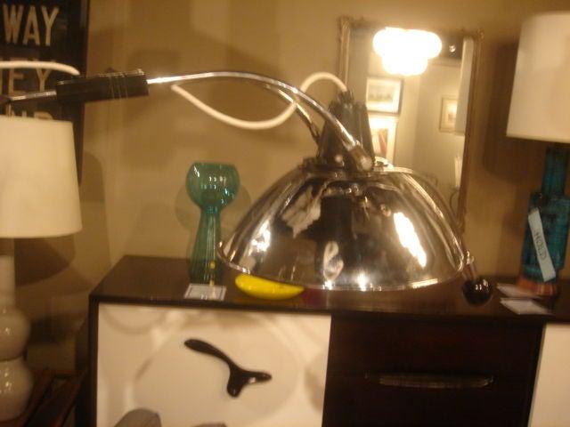 Vintage 1930s Doctor's Floor Lamp in Chrome & Black Metal For Sale 1