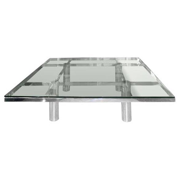 Scarpa For Gavina Steel U0026 Glass Coffee Table For Sale