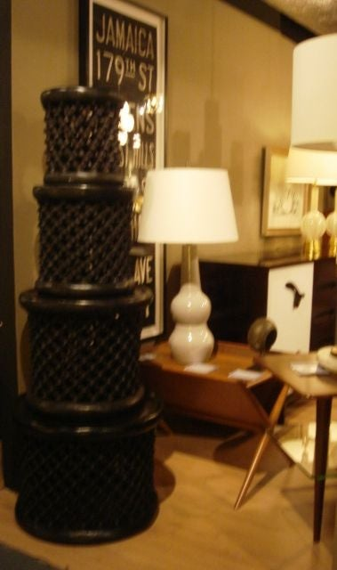 Ebonized African Cameroon Drum Stools in a selection of sizes 2