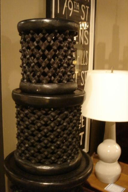 Ebonized African Cameroon Drum Stools in a selection of sizes 3