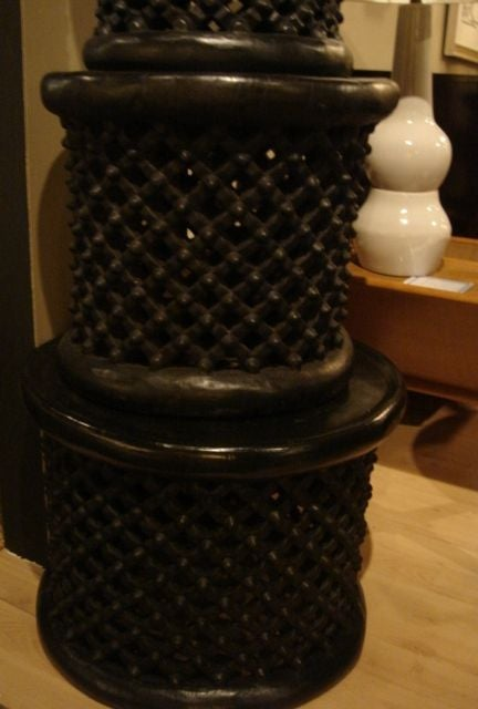 Ebonized African Cameroon Drum Stools in a selection of sizes 4