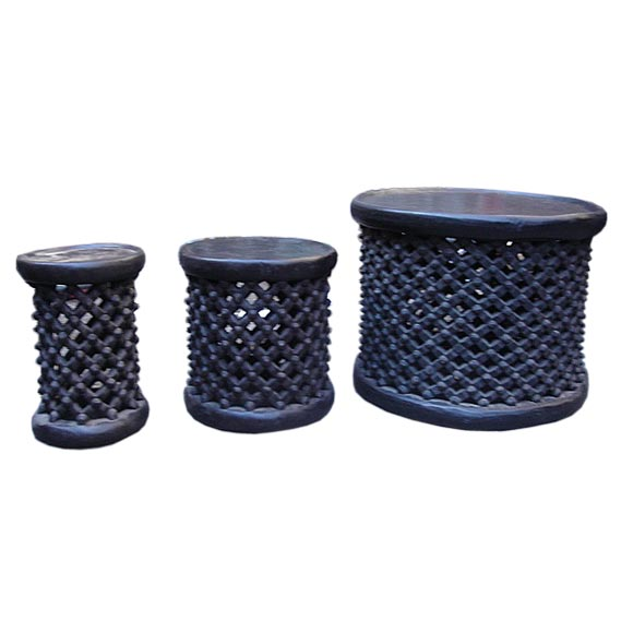 Ebonized African Cameroon Drum Stools in a selection of sizes 1