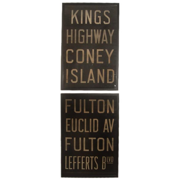 Pair of Vintage Framed New York Subway Signs