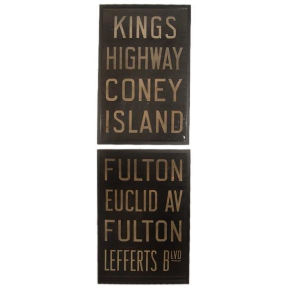Pair of Vintage Framed New York Subway Signs 1