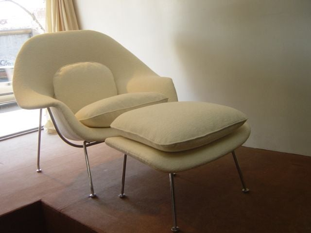 An Original Vintage Womb Chair And Ottoman Designed By Eero Saarinen For  Knoll. An Early