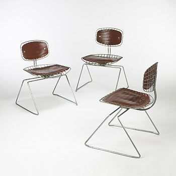 Pair Of Beaubourg Wire And Leather Chairs By Cadestin And