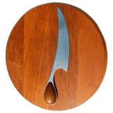 Dansk Teak Cheese Cutting Board and Knife in Torun Pattern