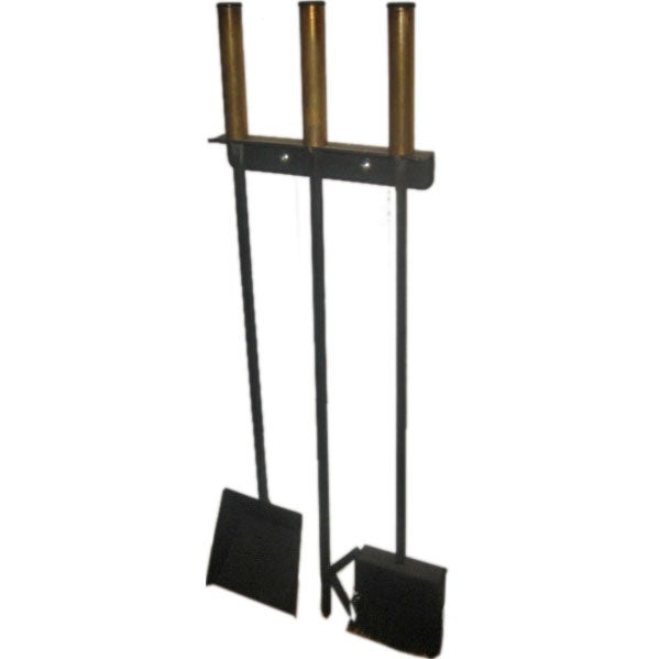 George Nelson Style Iron And Brass Wall Mounted Fireplacetools At 1stdibs