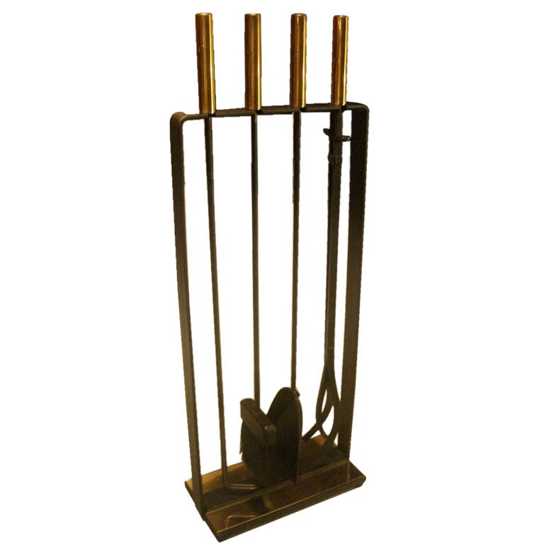 Set Of Iron And Brass Fireplace Tools Designed By George Nelson At