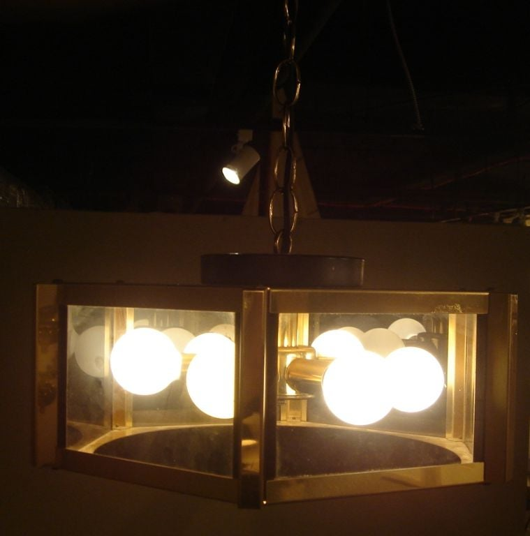 1980s Brass And Glass Hanging Light Fixture By Frederick