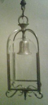 Art Deco Brass Hanging Lantern with Etched Glass Panels