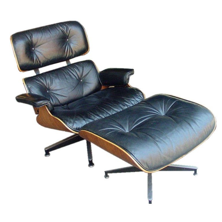 Vintage Rosewood Chair and Ottoman by Eames for Herman Millen at 1stdibs