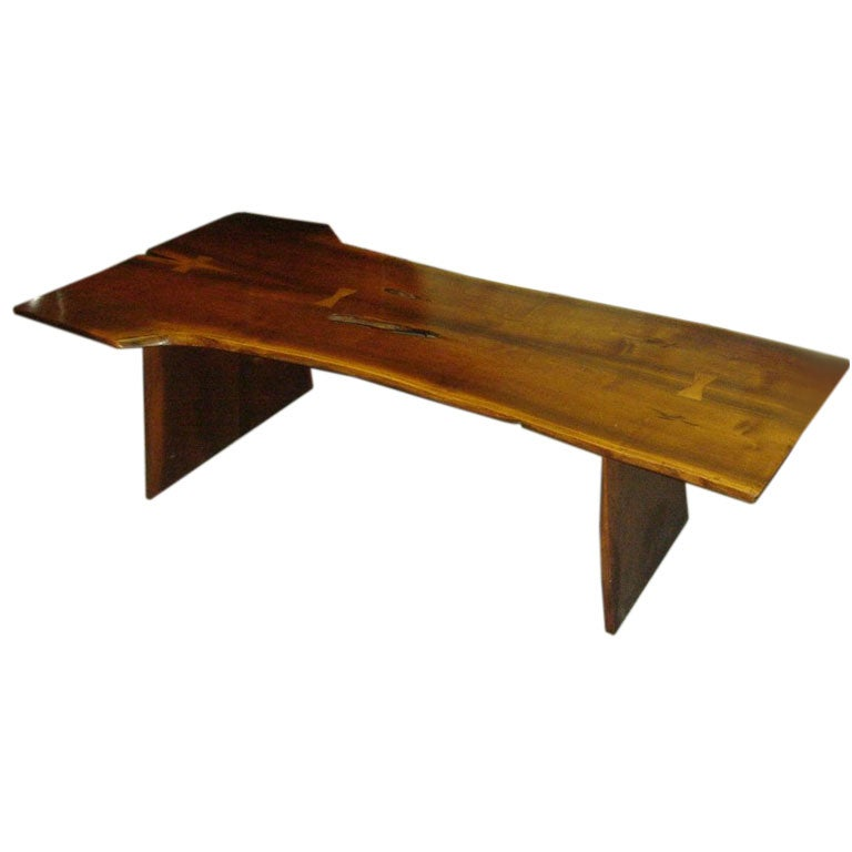 Vintage Nakashima Style Walnut Free Form Bench Coffee Table At