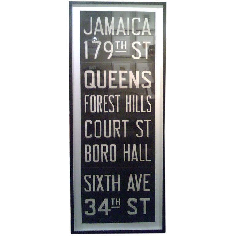 "Vintage New York Subway Sign in Custom  Frame - ""Jamaica"" For Sale"