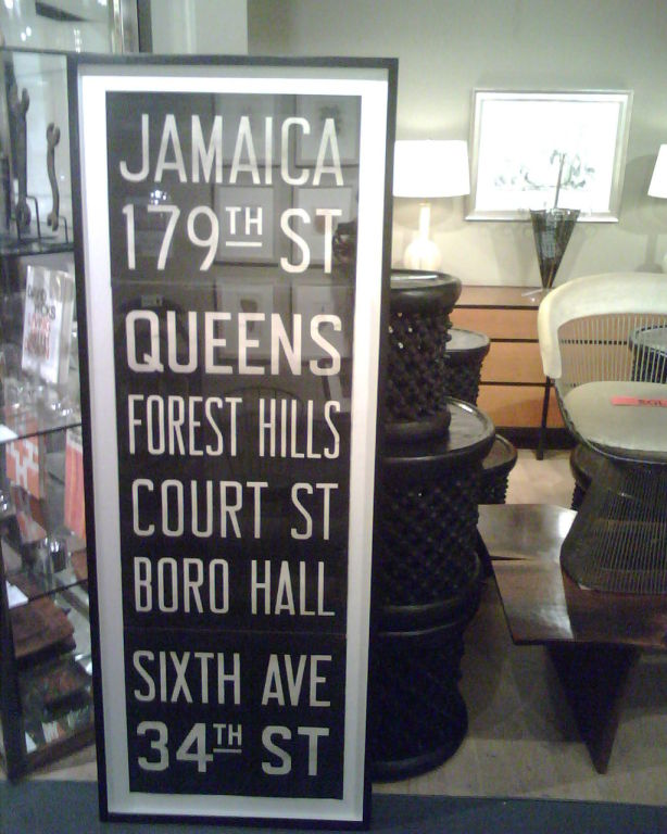 """Vintage New York subway sign in custom frame.  USA, circa 1950.<br /> <br /> Measures approximately 65 inches tall by 24 inches wide. Sign includes """"Jamaica"""" through """"34th St.""""<br /> <br /> Item may be viewed at Center 44, 222 East 44th Street,"""