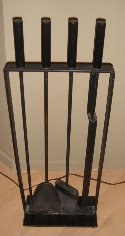 Mid Century Iron Patio Chairs: Mid Century Iron Fireplace Tool Set With Stand At 1stdibs
