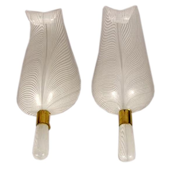 Pair Of Murano Glass Sconces At 1stdibs