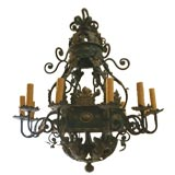 Huge French Baroque Style Wrought Iron Chandelier, 1960s