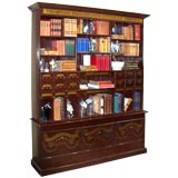 Large English  Apothecary Bookcase, Hand-Painted