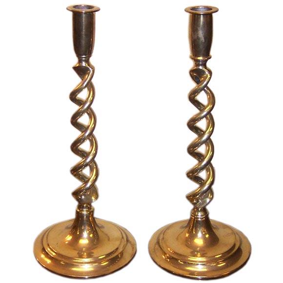 Brass Candlesticks antique english brass open barley twist candlesticks at 1stdibs
