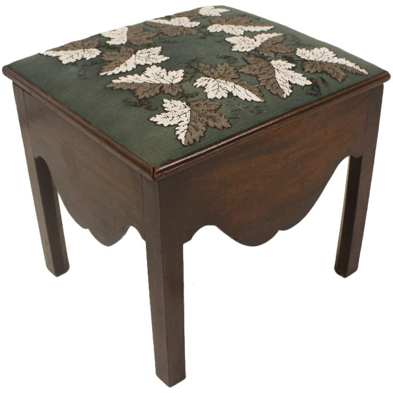 Early Antique Mahogany Commode Stool Beadwork Cover At
