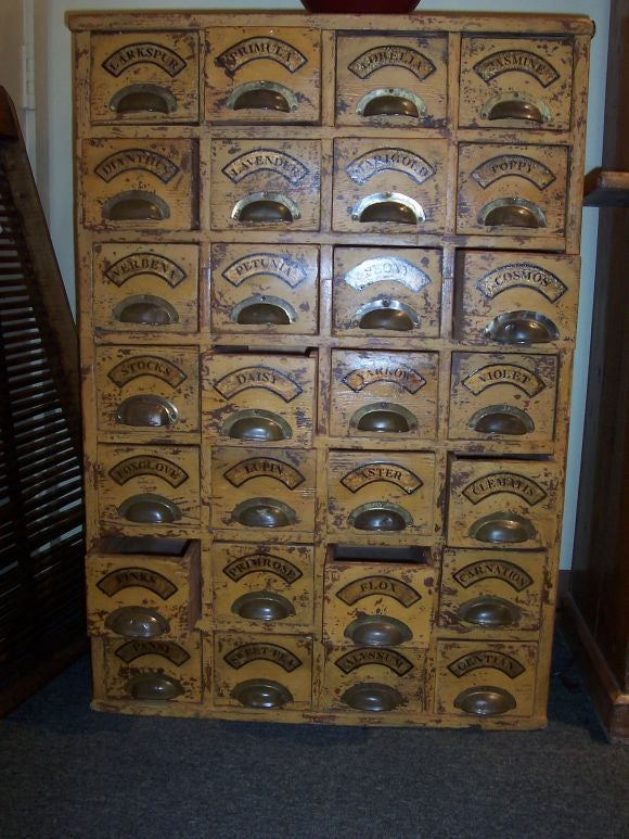 Antique Mustard Paint Seed Cabinet At 1stdibs